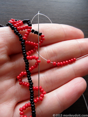 Add 9 beads B and move forward as before