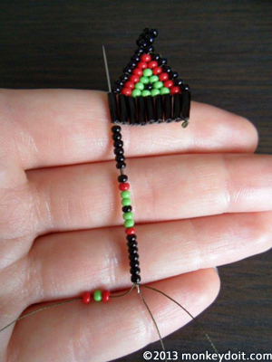 Adding one or three seed beads