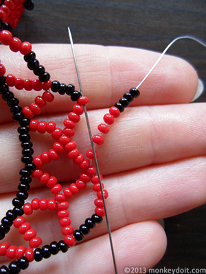 Add 5 beads B and 4 beads A and move forward as before