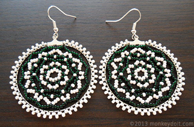 how to make bead-netted hoop earrings