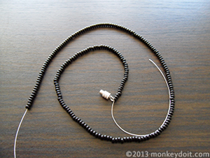 String as many beads A as you need to loosely wrap around your neck (it has to be a multiple of 6 + one more bead at the end. There needs to be an odd number of 6-bead segments)