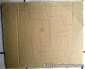 The maze outline in pencil