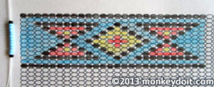 First string of beads for the design