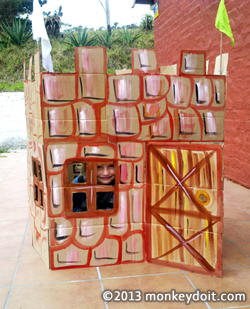 A castle made with cardboard boxes