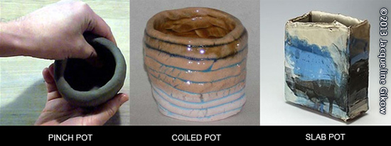 Techniques shown include Clay Pinch Pot, Coiled Pot, and Slab Pot