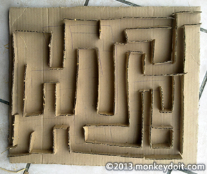 Completed cardboard maze