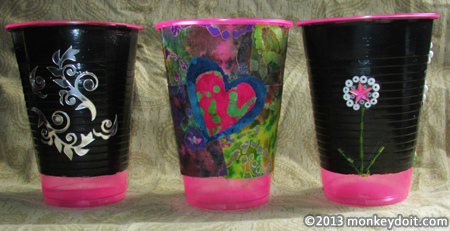 Decorations on the fun flower-pots: stickers, glitter, and rhinestones
