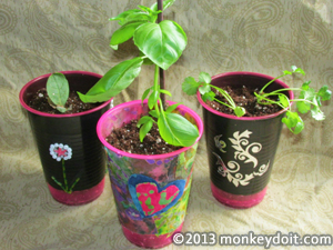 Fun flower-pots created with plastic cups