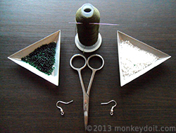 Materials Needed To Make Circular Netted Earrings Out Of Beads