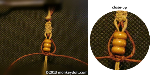 Reverse the hemp cords and use the other set to knot