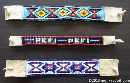 Woven bracelets created on a loom resembling American Indian designs